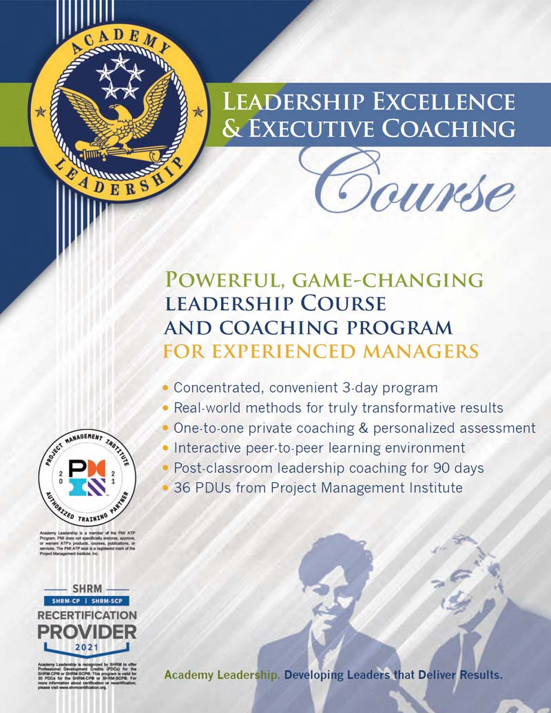 Leadership Excellence Course Academy Leadership